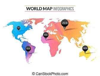 mappa, colorito, etichette, acquarello, vettore, infographics, piolini, mondo, percento