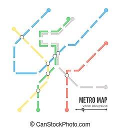 mappa, colorito, metro, stazioni, disegno, sottopassaggio, fondo, template., vector.