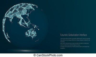 mappa, composizione, australia, illustration., mondo, ...