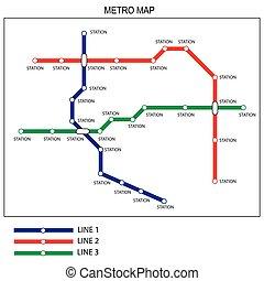 mappa, concetto, trasporto, metro, città, template., disegno, sottopassaggio, piano, o