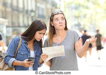 mappa, consulente, turisti, perso, telefono
