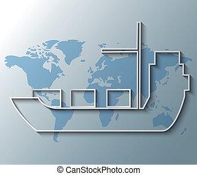 mappa, contenitore, illustrazione, fondo, mondo, nave