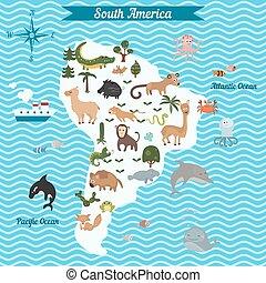 mappa, contin, sud, cartone animato, america