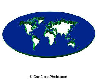 mappa, continente, 3d