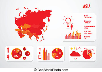 mappa, continente, asia, infographics