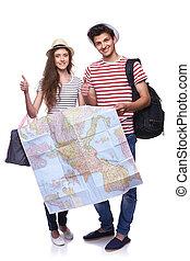 mappa, coppia, turisti, presa a terra