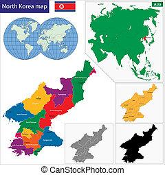 mappa, corea, nord