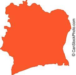mappa, costa avorio