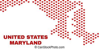 mappa, cuore, -, stato, cuori, maryland, mosaico