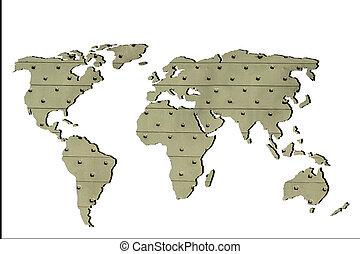 mappa, delineato, roughly, fondo, mondo, bianco