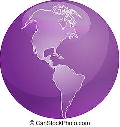 mappa, di, americas, sfera