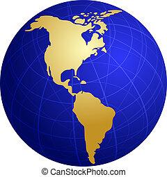 mappa, di, americas, su, globo, illustrazione