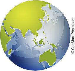 mappa, di, asia, su, globo, illustrazione
