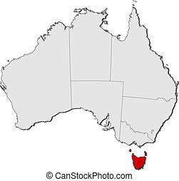 mappa, di, australia, tasmania, evidenziato