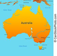 mappa, di, australiano, continente