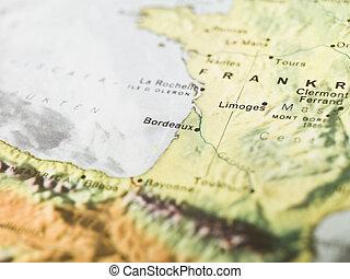 mappa, di, bordeaux