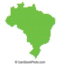 mappa, di, brasile, fatto, di, pixel verdi