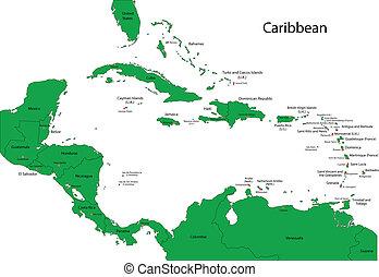 mappa, di, caraibico