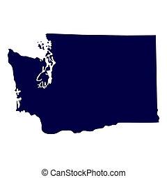 mappa, di, il, stati uniti., stato washington