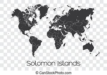 mappa, di, mondo, con, il, selezionato, paese, isole solomon