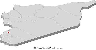 mappa, di, siria, damasco, evidenziato