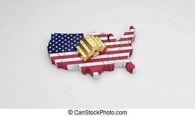 mappa, di, stati uniti, oro, wealth., ricco, country., 8