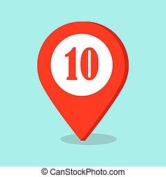 mappa, dieci, segno., numero, posizione, puntatore, icona