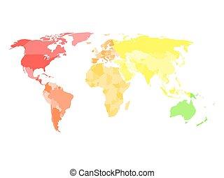 mappa, differente, vuoto, politico, colori, semplificato, ciascuno, mondo, continente