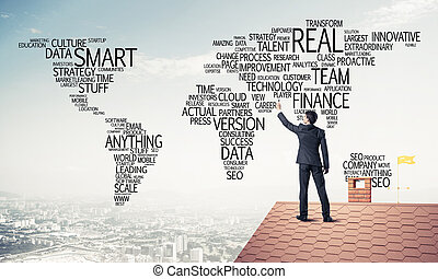 mappa, disegnare, concetto, tetto, uomo affari, globaliza, mondo, mattone