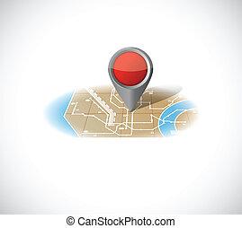 mappa, disegno, illustrazione, puntatore