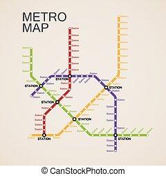 mappa, disegno, o, metro, sottopassaggio
