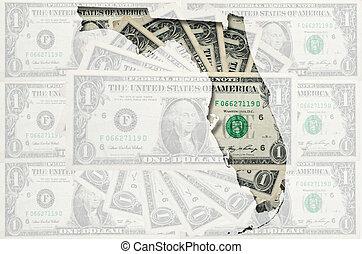 mappa, dollaro usa, trasparente, fondo, delineato, banconote...