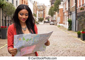mappa, donna, giovane, lettura
