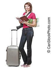 mappa, donna, turista, giovane, libro, presa a terra