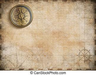 mappa, dorato, vendemmia, nautico, fondo, bussola