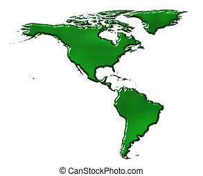 mappa, ecologico, america, 3d