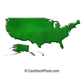 mappa, ecologico, stati uniti, 3d