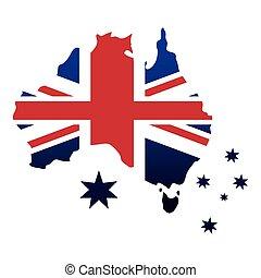 mappa, emblema, bandiera, stelle, australiano, icona