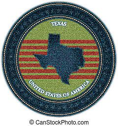 mappa, eps10, denim, etichetta, vettore, texas., style.