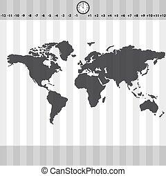 mappa, eps10, orologio, zebrato, zone, tempo, mondo