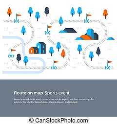 mappa, esterno, andando gita, campagna, traccia, segno, scia, paesaggio, itinerario, attività, bandiere, sport