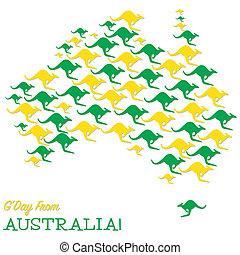 mappa, fatto, format., vettore, australiano, canguri