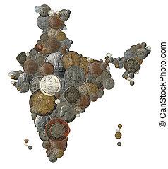 mappa, fatto, paese, monete, india, indiano, nuovo, vecchio