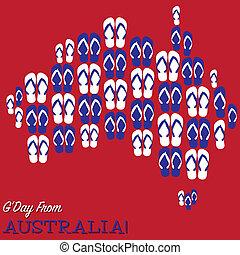 mappa, fatto, thongs, format., vettore, (flip, flops), australiano