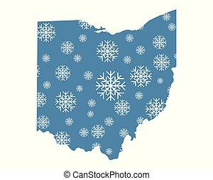 mappa, fiocchi neve, ohio