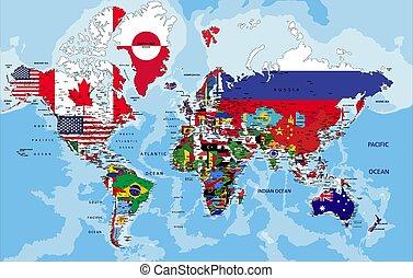 mappa, flags., politico, mondo, paese