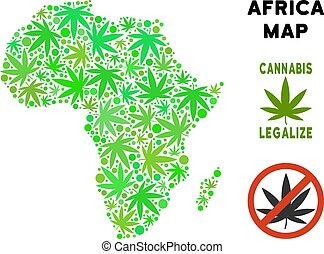 mappa, foglie, africa, libero, canapa, regalità, mosaico