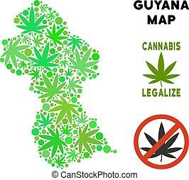 mappa, foglie, marijuana, libero, regalità, guyana, mosaico