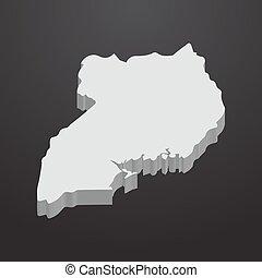 mappa fondo, grigio, nero, uganda, 3d