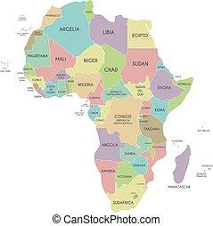 mappa fondo, politico, africa, isolato, illustrazione, identificato, vettore, nomi, spanish., paese, editable, bianco, layers., chiaramente